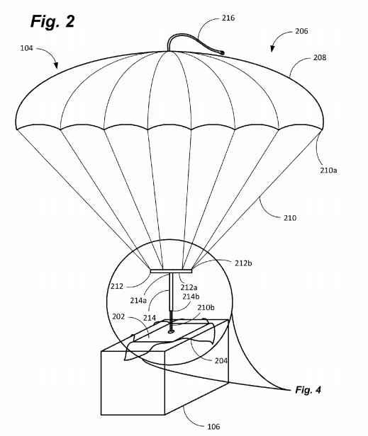 paracaídas para drone de reparto