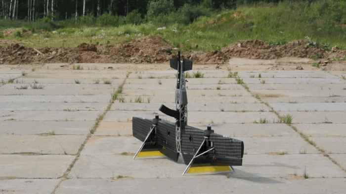 drone escopeta ruso en el suelo