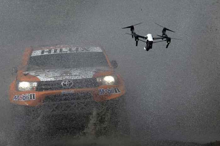 drone filma el Dakar en Buenos Aires